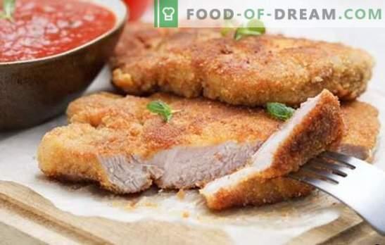 Costeleta de porco no forno - um clássico! Uma seleção de receitas de costeletas de porco no forno: empanado, com molho e legumes