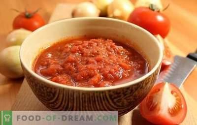 Adjika de tomates sem alho para o inverno: reserva, você não vai se arrepender! Uma variedade de receitas adjika de tomates sem alho durante o inverno