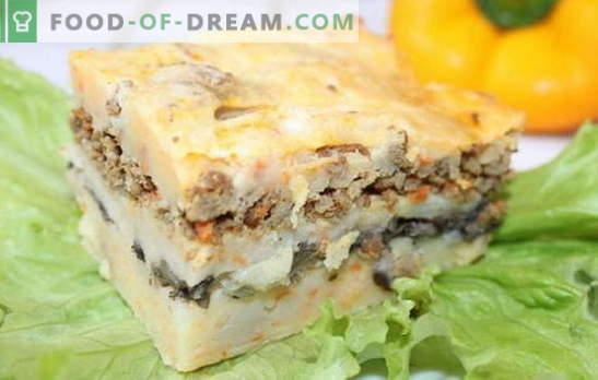 Caçarola com carne picada e batatas - poupe tempo! Receitas de caçarola com carne picada e batatas, bem como cogumelos, queijo, legumes