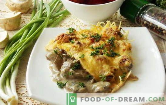 Uma variedade de receitas de fígado de frango com cogumelos. O que pode ser adicionado a pratos de fígado de galinha com cogumelos: legumes, creme azedo, creme
