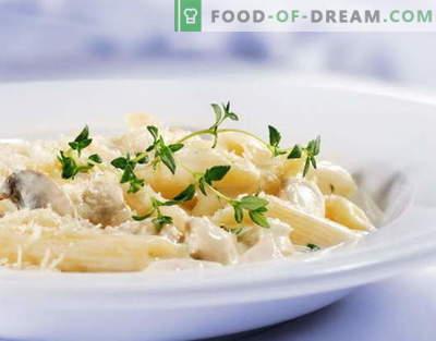Massa de frango em molho de creme é a melhor receita. Como cozinhar corretamente e saboroso macarrão com frango em um molho cremoso.