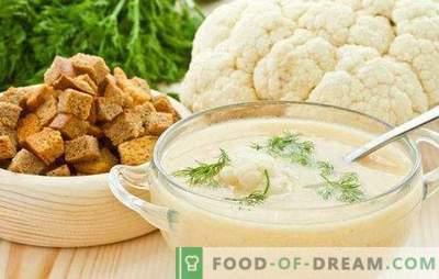 Sopa de purê de couve-flor: dietética e tenra. As melhores receitas de purê de couve-flor com queijo, carne, peixe