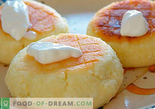 Cheesecakes com semolina - as melhores receitas. Como cozinhar rapidamente e saboroso cheesecakes com sêmola.