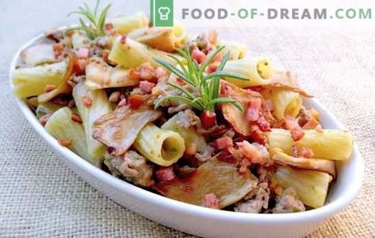 Macarrão com carne de porco em toda a sua glória! Receitas de massas assadas e fritas e massas com carne de porco