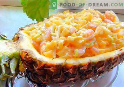 Salada de caranguejo com abacaxi - as melhores receitas. Como corretamente e saboroso cozinhar salada de caranguejo com abacaxi.