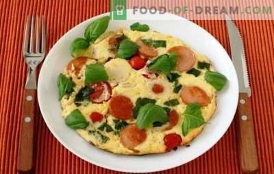 Omeletes simples com tomate e linguiça - uma tradição! No forno ou no pan - omeletes com tomate e salsicha