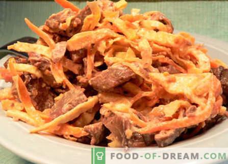 Solata z jetra in korenje - najboljši recepti. Kako pravilno in okusno pripraviti solato z jetri in korenjem.