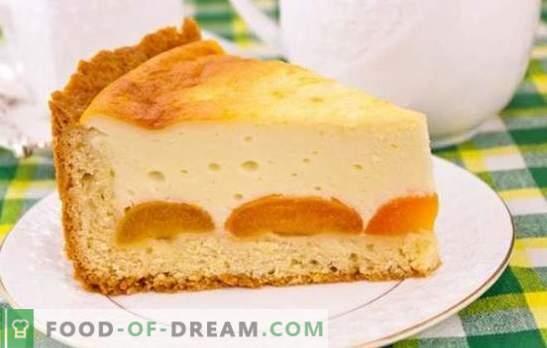 Taart met kwark en abrikozen is een heerlijk gezond dessert. Recepten voor kwarktaarten en abrikozen van verschillende soorten deeg