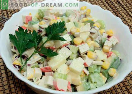 Salada com abacate e caranguejo - as melhores receitas. Como corretamente e saboroso para preparar uma salada de abacate e varas de caranguejo.