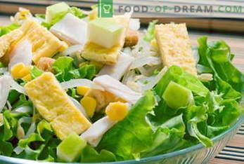 Receitas para saladas. Salada Mimosa, César, Grego, Frango, Caranguejo ...