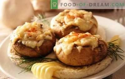 Champignon recheado no forno com queijo - cogumelos espetaculares! Receitas de champignons recheados no forno com queijo e não só