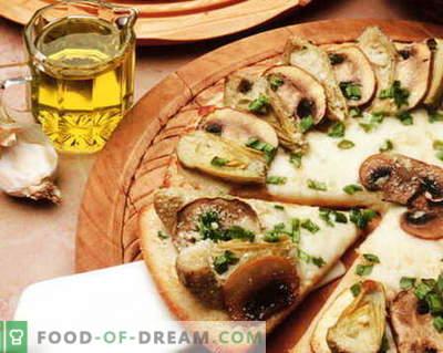 Pizza com cogumelos - as melhores receitas. Como corretamente e saboroso cozinhar pizza de cogumelos.