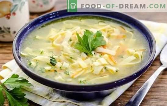 O caldo de macarrão é o melhor prato para o almoço. As melhores receitas de caldo com macarrão: caseiro, trigo, arroz e trigo mourisco