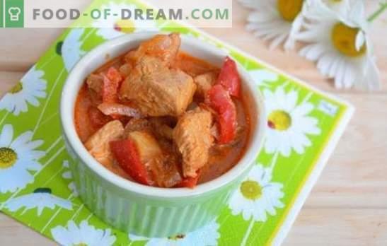 Cozido de peru em um fogão lento: picante, com legumes, em creme azedo, com creme e nozes. Receitas originais, guisado de peru saboroso em um fogão lento