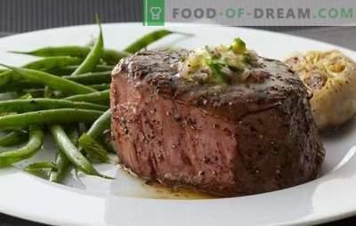 Entrecote no forno - cozinha francesa clássica! Cozinhando um entrecote no forno de carne de vaca, cordeiro, vitela e carne de porco