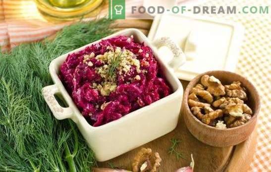 Barato - não significa primitivo: saladas de beterraba com queijo. Saladas simples TOP de beterraba com queijo e não só