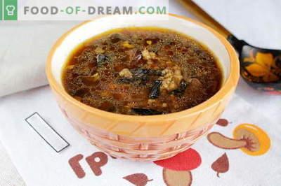 Žāvētas sēņu zupa - labākās receptes. Kā pareizi un garšīgi pagatavot žāvētu sēņu zupu.