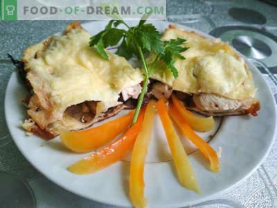 Recette de la brise aux champignons et au poulet: un plat de la cuisine française, recette de cuisine avec photo